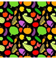 Vegetables seamless pattern dark background with vector image