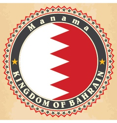Vintage label cards of Bahrain flag vector image