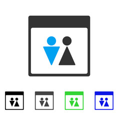 Wc persons calendar page flat icon vector