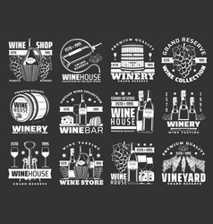 Wine bottles and barrels winery grape fruit drink vector