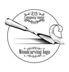 Woodcarving logotype with a chisel vector