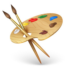 Wooden artist palette with paint brushes vector