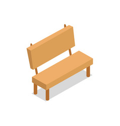 Wooden bench isometric design vector