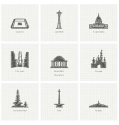 world famous landmarks design vector image