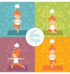 yoga practice set vector image