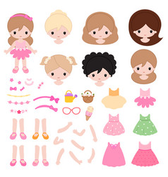adorable little princess constructor flat vector image