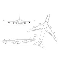 airplane linear icon set on a white background vector image vector image