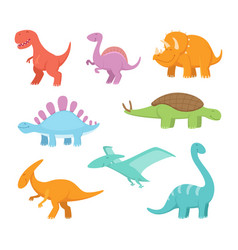 cartoon set of funny dinosaurs pictures of vector image