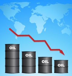 Decreasing Price of Oil With World Map Background vector image