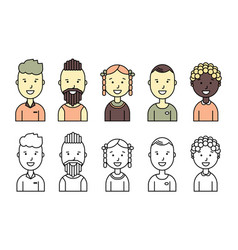 male and female faces avatars flat style vector image vector image