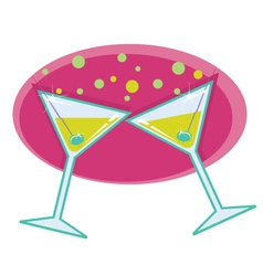 martinis with olives vector image vector image