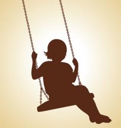 child on swing vector image vector image