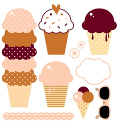 Cute beautiful ice cream set isolated on white vector image vector image
