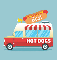 hot dogs truck vector image