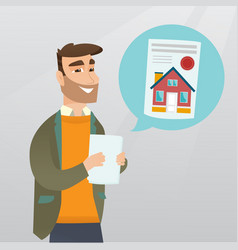 man reading real estate advertisement vector image