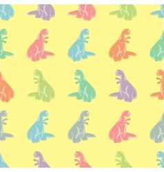 Seamless background Funny colored tyrannosaurs vector image vector image
