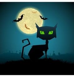 Black Cat in Halloween Night vector image