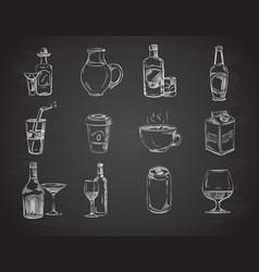 doodle drinks wine beer bottles hand drawn vector image vector image
