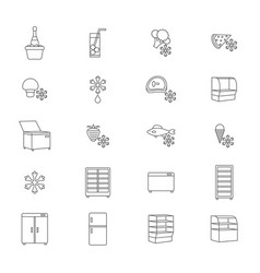 fridge signs black thin line icon set vector image vector image