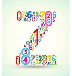 Letter z colored font from numbers vector