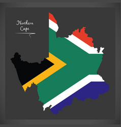 northern cape south africa map with national flag vector image