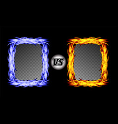 versus symbol with fire frames vs letters vector image