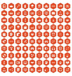 100 programmer icons hexagon orange vector image vector image