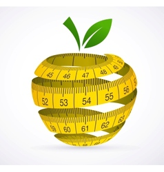 Apple and measuring tape Diet symbol vector image