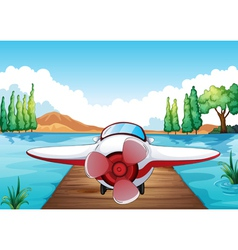 Jetty and aeroplane vector image