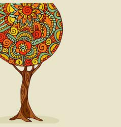 mandala tree hand drawn floral art vector image