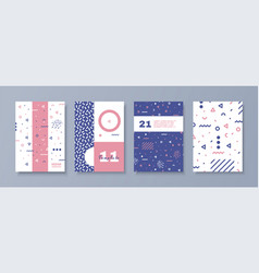 set of memphis style posters abstract elements vector image