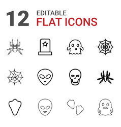 12 horror icons vector image