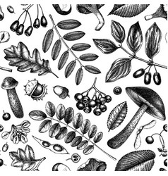 autumn forest plants seamless pattern background vector image