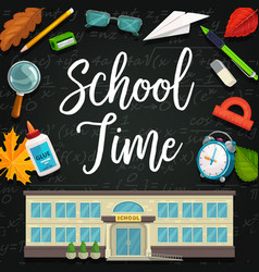 back to school chalk blackboard and study items vector image