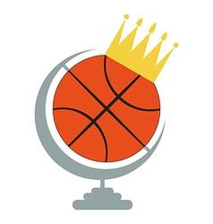 Basketball Ball Icon with Crown vector image