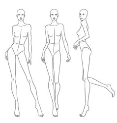 Beautiful slim woman in different poses vector