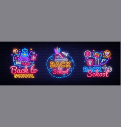 big collectin neon signs for back to school neon vector image