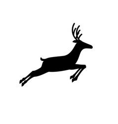Black profile silhouette of running reindeer vector