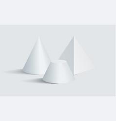 blunted cone pentagonal prism 3d geometric shapes vector image