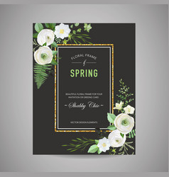 Botanical wedding invitation save date card vector