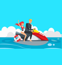 Boy and girl riding jet ski vector