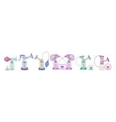 Breast pump realistic set icon vector