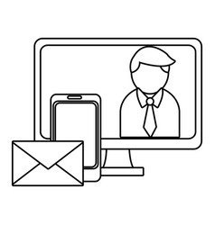 Business and email in black and white vector