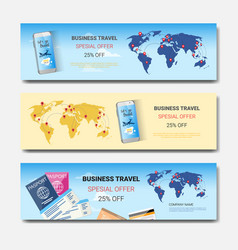 business travel special offer set of template vector image