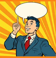 Businessman smile index finger up gesture vector