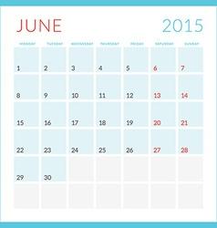 Calendar 2015 flat design template June Week vector