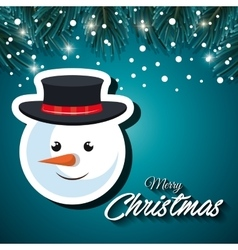 card christmas snowman face snowfall vector image