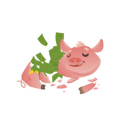 cartoon broken piggy bank with money vector image