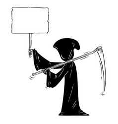 cartoon grim reaper with scyand black hood vector image
