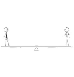 Cartoon of two businessmen standing on balance vector